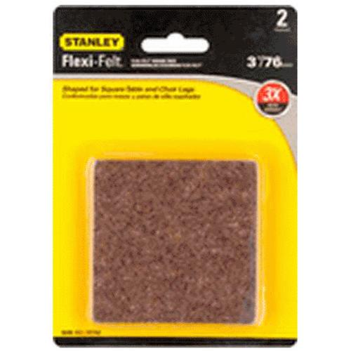 "Stanley 849312 Flexi-Felt Square Self-Adhesive Pads, 3"", Brown"