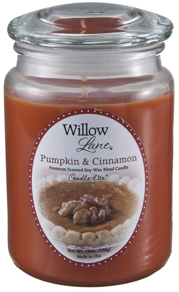 Candle Lite 1646951 Willow Lane Pumpkin & Cinnamon Jar Candle, 19 Oz.