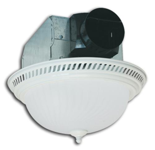 Air King DRLC703 Round Bath Fan with Light, 70 CFM, White