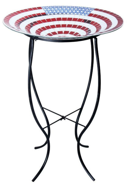 Alpine GRS472A-18 Mosaic American Flag Glass Birdbath With Metal Stand, 18""