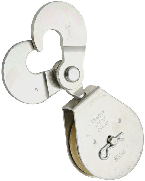 National Hardware N225-623 3217BC Scissor Hook Single Pulley, Zinc Plated