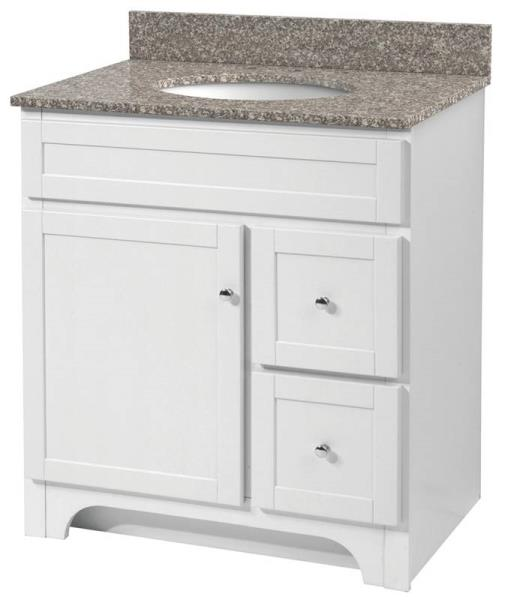 "Foremost WRWA3021D 1 Drawer / 2 Drawer Vanity, White, 30"" x 21"""