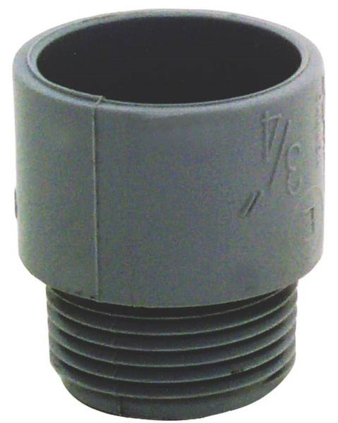 "Carlon E943E-CTN Male Adapter, 3/4"", PVC, Gray"