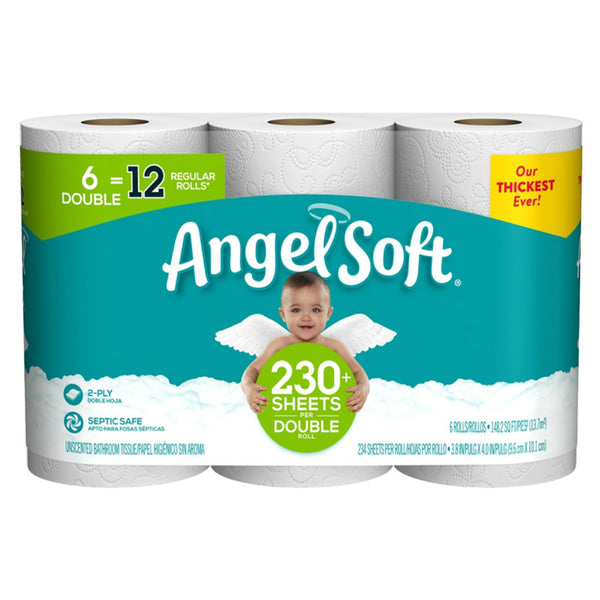 Angel Soft 79182 Bathroom Tissue, 2-Ply, 6 Double Rolls