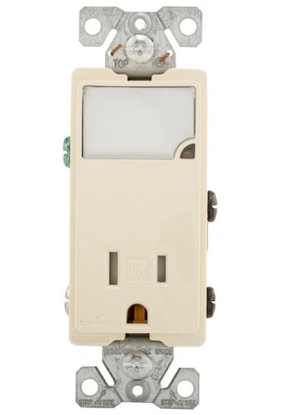 Cooper Wiring TR7735LA-BOX Combination LED Nightlight With TR Receptacle, Light Almond