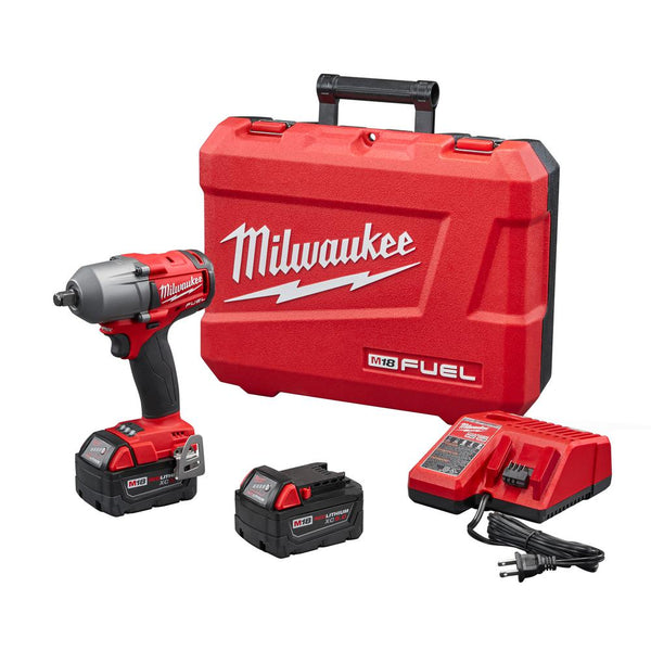 "Milwaukee 2861-22 M18 FUEL 1/2"" Mid-Torque Impact Wrench With Friction Ring, 18 Volt"