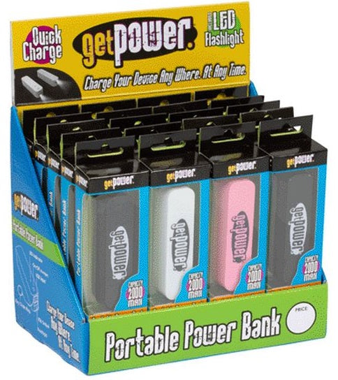 GetPower Battery Back Up Micro USB Cord & Flashlight Display, 20 Piece