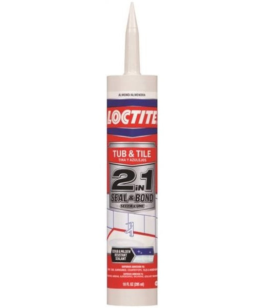 Loctite 2154752 2-In-1 Seal & Bond Tub & Tile Adhesive Caulk, 10 Oz