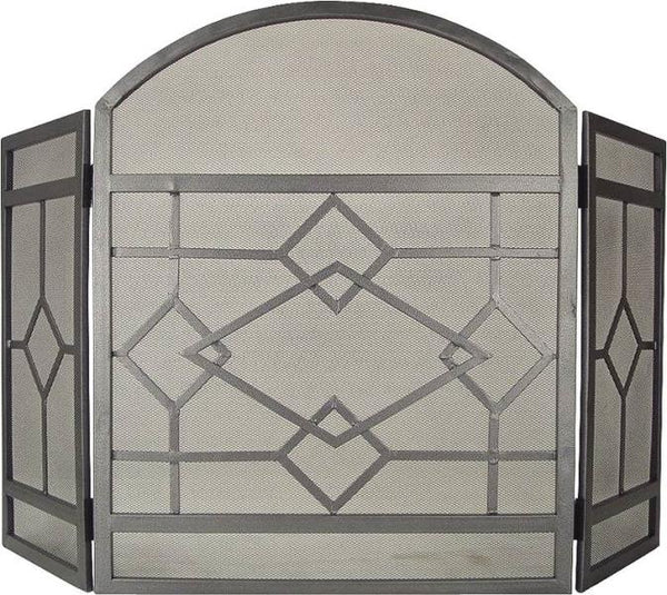 "Homebasix CPO61153NN Solid Steel 3-Panel Fireplace Screen, Natural, 32""x51.5"""