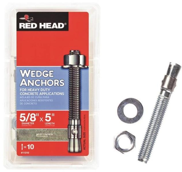 "Red Head 11310 Masonry Wedge Anchors, 5/8"" X 5"", 10 Piece"