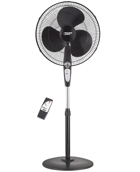 "PowerZone SP2-18ARY Stand Fan with Remote Control, 3-Speeds, 18"", Black"