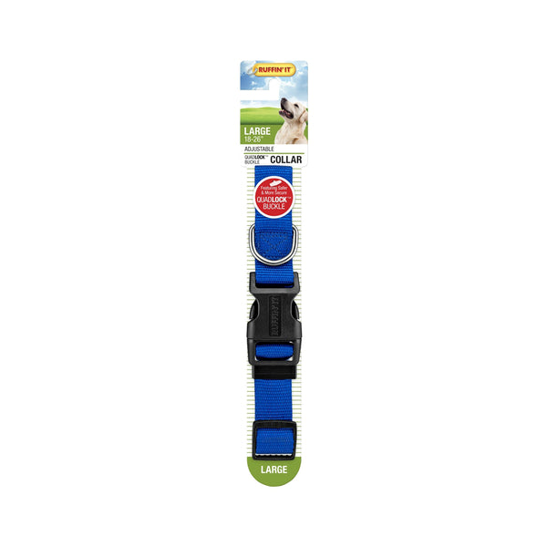 Westminster Pet 7N31043 Ruffin' It Adjustable Dog Collar, Nylon, Blue, 18 - 26""
