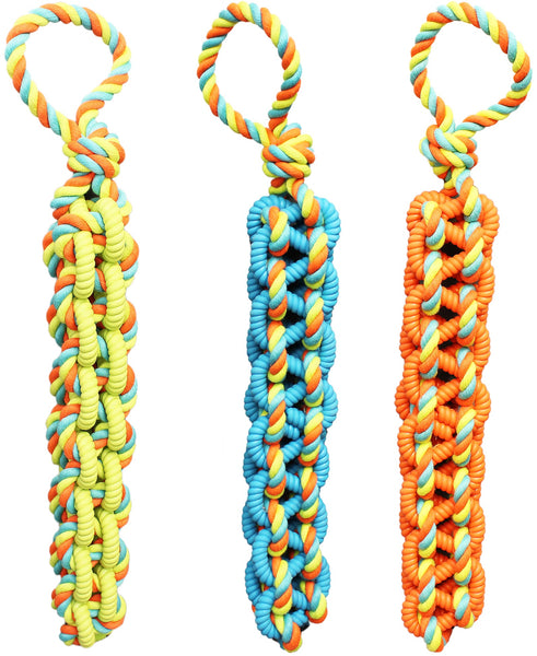 Chomper WB15530 Braided TPR & Rope Tug Dog Toy, Assorted Colors