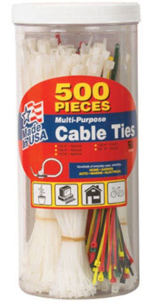 GB Electrical 50398 Multi-Purpose Cable Ties, Assorted, 500-Piece