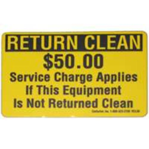 "Centurion RCL50 Decals Return Clean, 2"" x 3"", Pack/25"