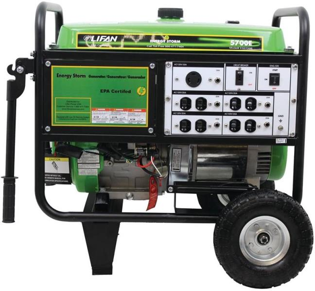 Lifan ES5700E Energy Storm Gas Powered Portable Generator, 5700W