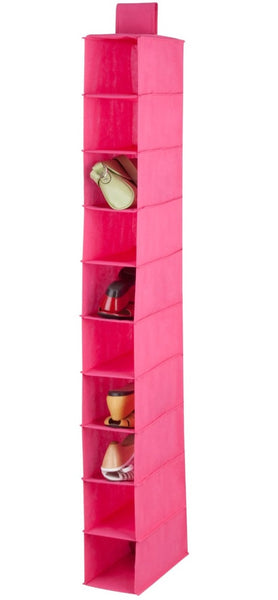 "Honey-Can-Do SFT-03060 10-Shelf Hanging Closet Organizer, 54"", Pink"