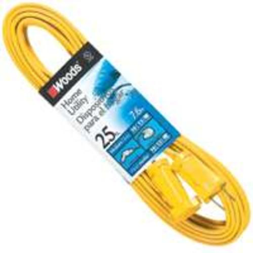 Coleman Cable 0591 Flat Vinyl Extension Cord, Yellow, 25'