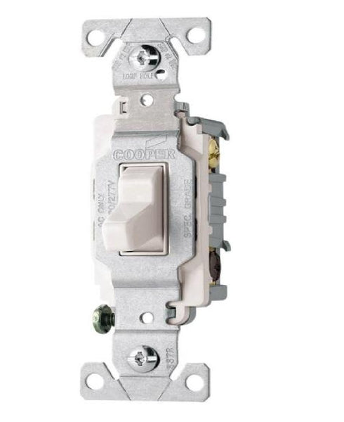 Cooper Wiring CSB315W 3-Way AC Quiet Toggle Switch, 15 AMP