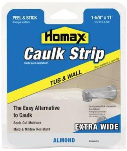 "Homax 2403 Tub & Wall Caulkstrip, Almond, 1-5/8"" x 11'"