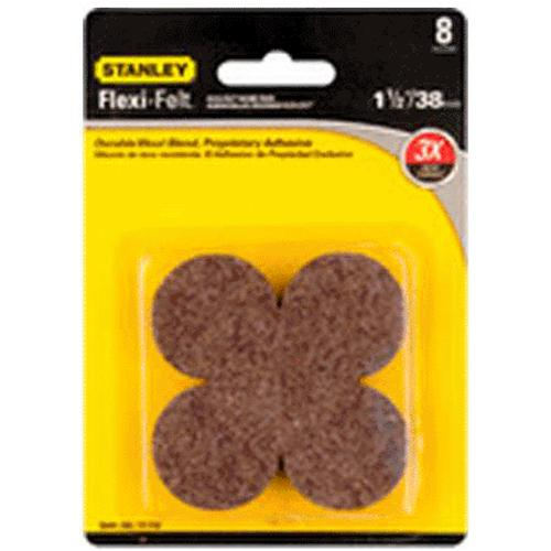 "Stanley 849206 Flexi-Felt Round Self-Adhesive Pads, 1-1/2"", Brown"