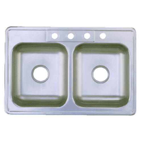 "Franke FDS604NB Double Bowl Sink Stainless Steel, 33"" x 22"" x 6"""