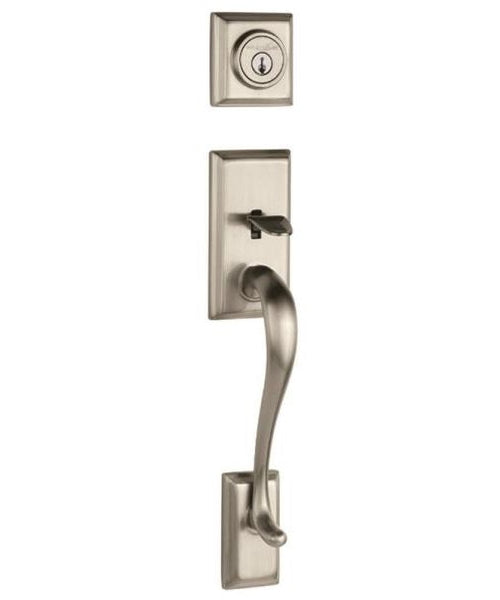 "Kwikset 800HE-15 SMT Adjustable Door Handleset, Satin Nickel, 17-9/16"" L"