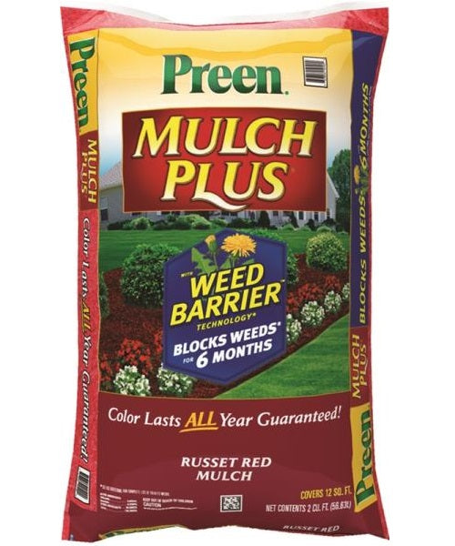 Preen 95456134 Mulch Plus Weed Barrier, Russet Red, 2 Cu. Ft.