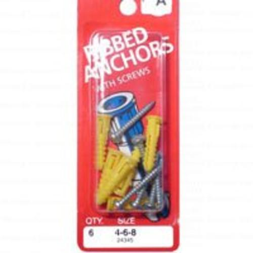 Midwest 24345 Ribbed  Plastic Anchors With Screws 4-6-8