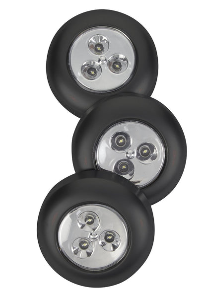 Fulcrum 30010-303 Battery-Operated Stick-On Tap Light, Black, 3 Piece
