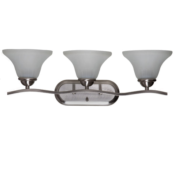 Boston Harbor 1571-3V Three Light Vanity Wall Fixtures, Brushed Nickel
