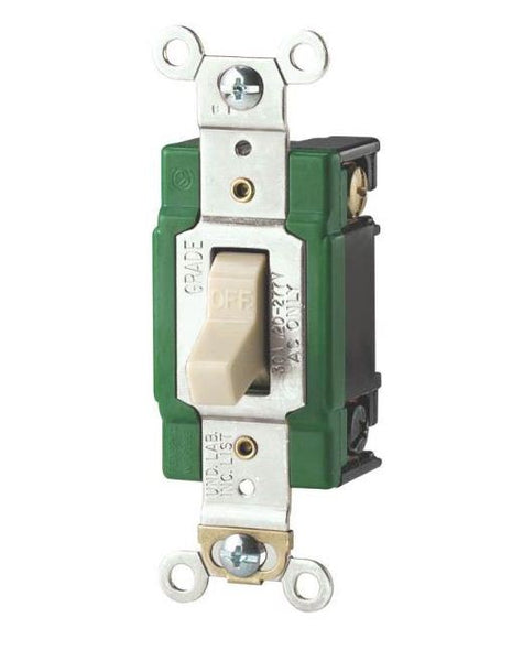 Cooper Wiring 3032V Industrial Back Wire Double Pole Switch, 30 Amp, Ivory