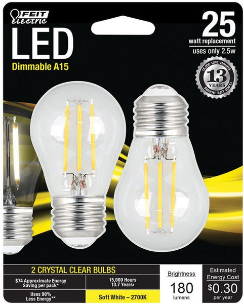 FEIT Electric BPA1525827LED2 A-Line LED Light Bulb, Clear, Soft White