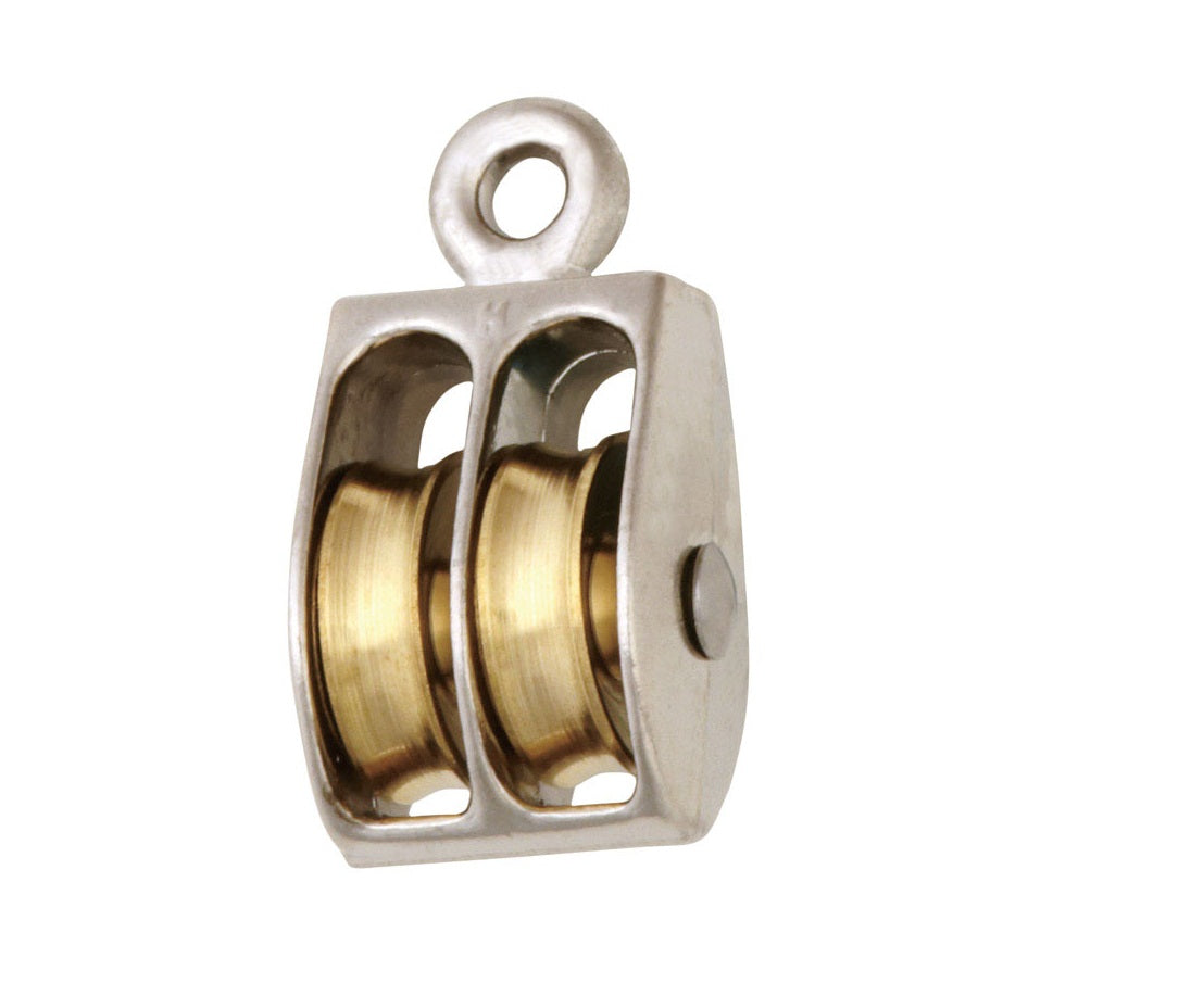 Baron 0176ZD-1 Double Sheave Rigid Eye Rope Pulley, Zinc Die-Cast