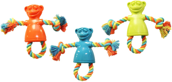 Chomper WB15501 TPR Monkey Tug Dog Toy, Small, Assorted Colors