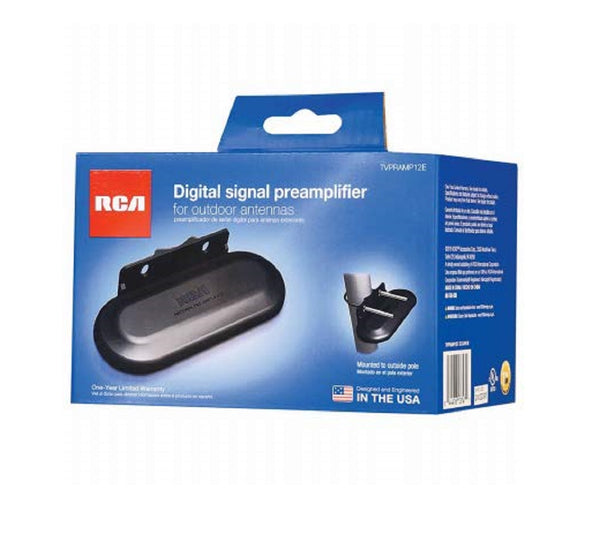 RCA TVPRAMP12E Outdoor Antenna Pre Amplifier, Black