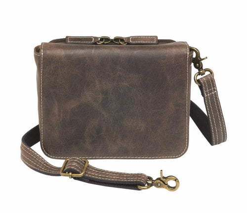 Distressed Buffalo Leather Crossbody Organizer