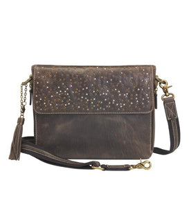 Distressed Leather Shoulder Clutch