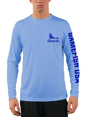 Image of Men's UPF 50 Long Sleeve Microfiber Moisture Wicking Performance Fishing Shirt Mahi