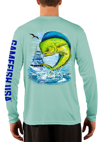 Men's UPF 50 Long Sleeve Microfiber Moisture Wicking Performance Fishing Shirt Mahi