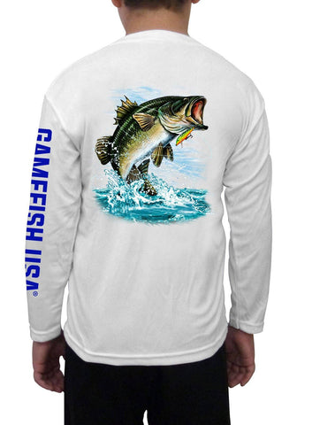 Kid's UPF 50 Long Sleeve Microfiber Moisture Wicking Performance Fishing Shirt Bass - Gamefish USA
