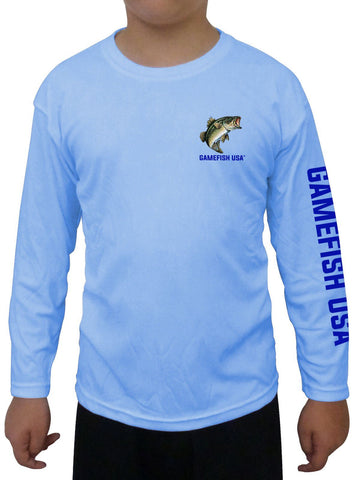 Image of Kid's UPF 50 Long Sleeve Microfiber Moisture Wicking Performance Fishing Shirt Bass - Gamefish USA