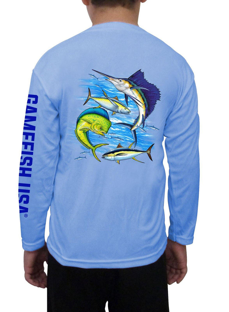 Kid's UPF 50 Long Sleeve Microfiber Moisture Wicking Performance Fishing Shirt Gamefish - Gamefish USA