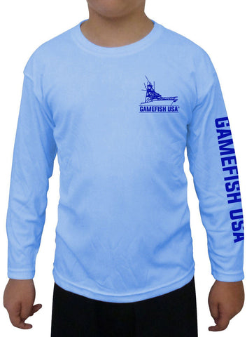 Image of Kid's UPF 50 Long Sleeve Microfiber Moisture Wicking Performance Fishing Shirt Gamefish - Gamefish USA