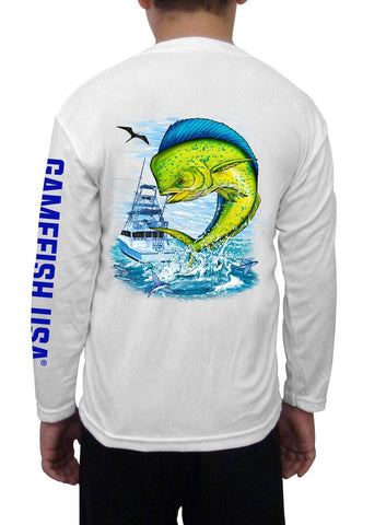 Image of Kid's UPF 50 Long Sleeve Microfiber Moisture Wicking Performance Fishing Shirt Mahi - Gamefish USA