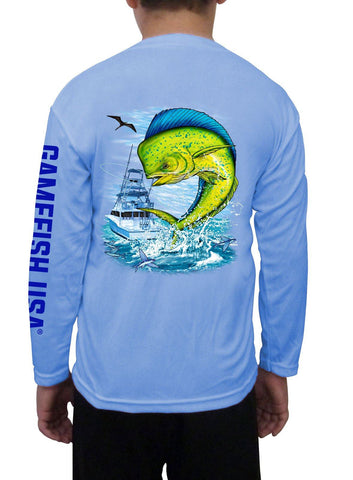 Kid's UPF 50 Long Sleeve Microfiber Moisture Wicking Performance Fishing Shirt Mahi - Gamefish USA