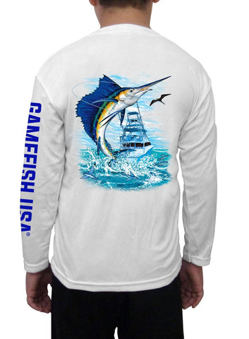 Kid's UPF 50 Long Sleeve Microfiber Moisture Wicking Performance Fishing Shirt Sailfish - Gamefish USA