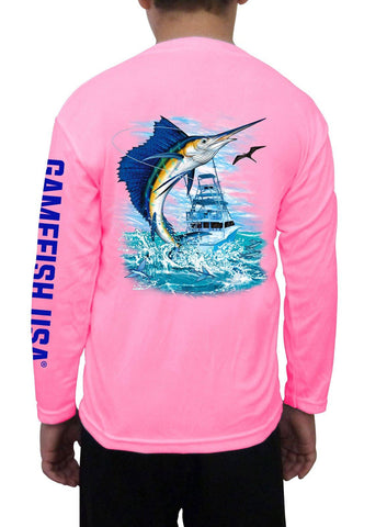 Image of Kid's UPF 50 Long Sleeve Microfiber Moisture Wicking Performance Fishing Shirt Sailfish - Gamefish USA