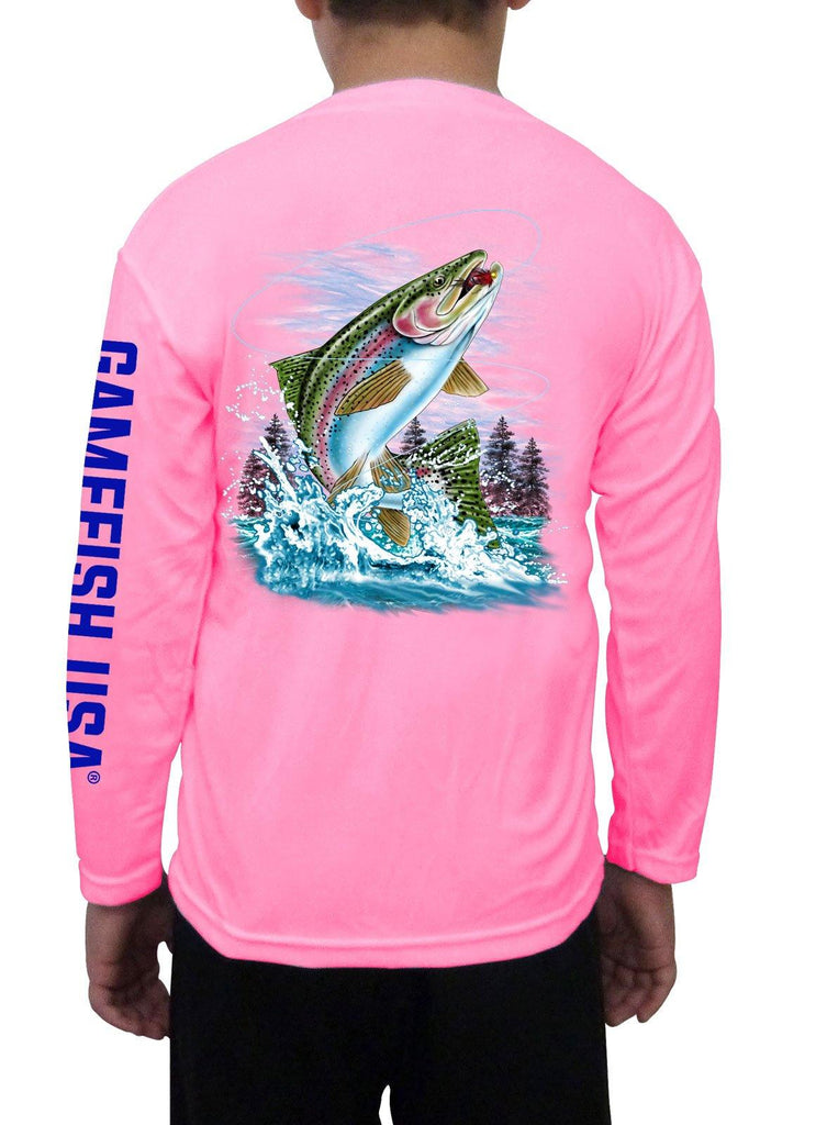 Kid's UPF 50 Long Sleeve Microfiber Moisture Wicking Performance Fishing Shirt Trout - Gamefish USA