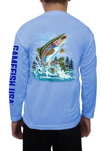 Image of Kid's UPF 50 Long Sleeve Microfiber Moisture Wicking Performance Fishing Shirt Trout - Gamefish USA